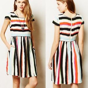 Anthropologie Maeve Striped Peralta Flared Dress